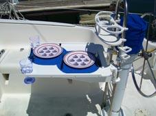 Cockpit Table on Catalina sailboat
